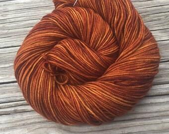 Hand Dyed DK Yarn Copper Cove hand painted 274 yards dk sport superwash merino wool swm orange rust pumpkin spice ready to ship yarn