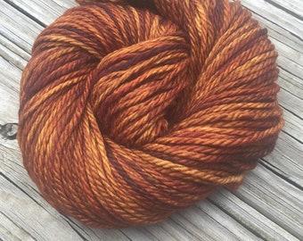 Hand Dyed Bulky Yarn Copper Cove yarn 100% superwash merino wool 106 yards orange rust gold brown bulky weight yarn ready to ship yarn