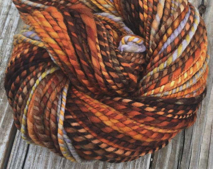 Captain Redbeard Handspun yarn Soft Polwarth Wool Yarn Bulky Weight orange gold rust pale gray Two Ply 2 Ply 100 yards ready to ship yarn