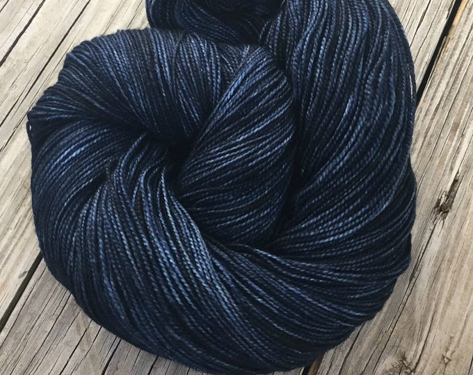 hand dyed sock yarn Davy Jones' Locker Dark Navy Blue Shawl Length Superwash Merino Cashmere Nylon MCN 600 yards ready to ship yarn super