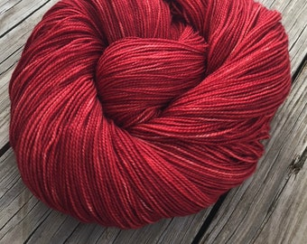 hand dyed sock weight yarn Ruby Daggers Shawl Length Skein Superwash Merino Cashmere MCN 600 yards fingering Red Rose blood ready to ship