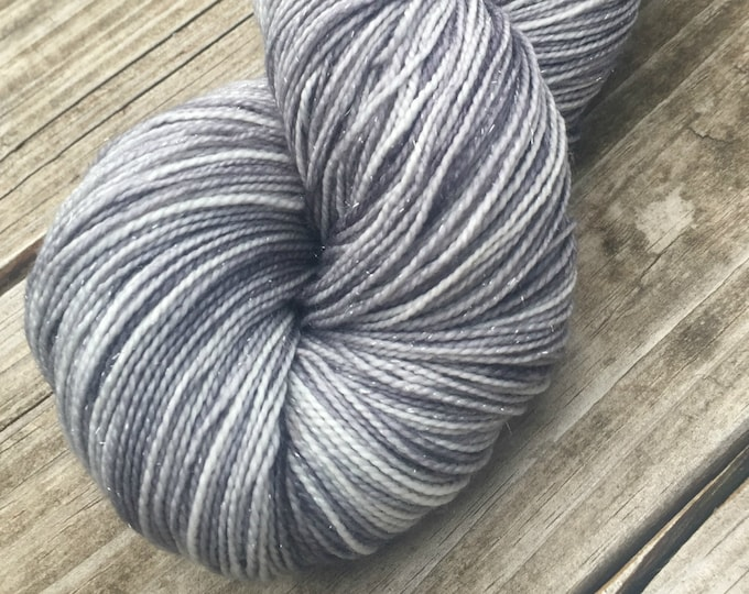 Sparkle Sock Yarn Pieces of Eight Silver Hand Dyed gray grey 438 yards superwash merino nylon stellina fingering ready to ship yarn silver