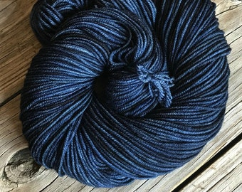 Hand Dyed DK Yarn Davy Jones' Locker hand painted 274 yards dk sport superwash merino wool swm midnight blue dark navy ready to ship yarn