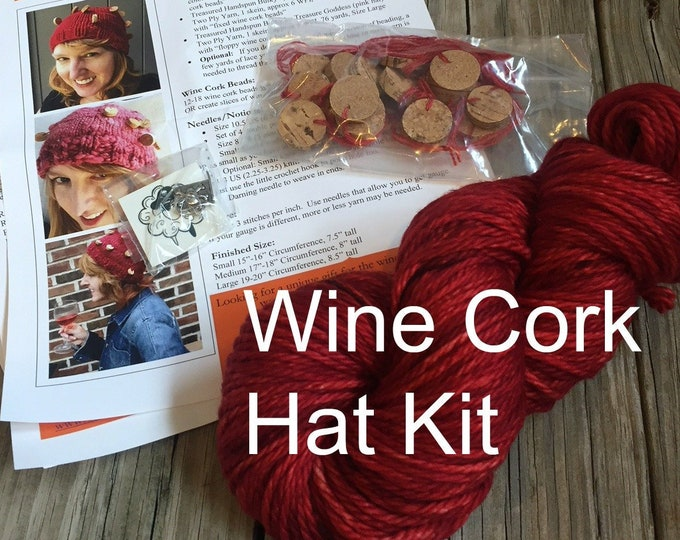 Wine Cork Hat Knitting KIT Hand Dyed Bulky Yarn Pattern PDF Stitch Marker superwash merino Red Wine Blackberry Wine Burgandy Cabernet merlot