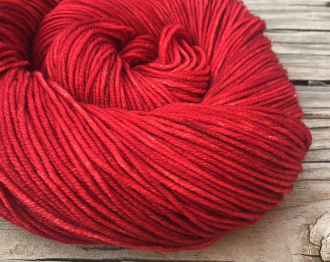 Ruby Daggers Red Hand Dyed DK Yarn dark red Hand Painted yarn 274 yards handdyed dk sport weight Superwash Merino Wool crimson swm blood red