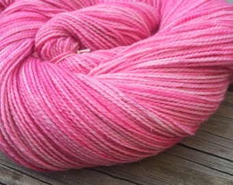 Sparkle Sock Yarn Damsel in Distress Hand Dyed Painted bubblegum pink sockyarn 438 yards superwash merino nylon stellina ready to ship yarn