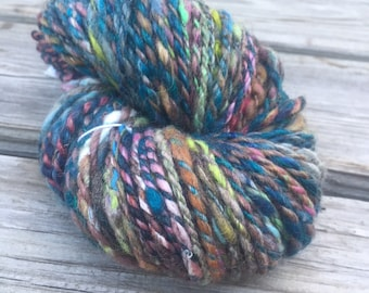 Evening Splendor Handspun Yarn Bulky 2 ply wool alpaca angelina sparkle yarn FiberTerian 105 yards teal blue pink green gray purple