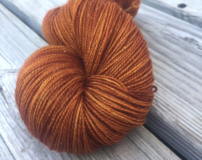 Sparkle Sock Yarn Copper Cove Hand Dyed sockyarn 438 yards superwash merino nylon stellina fingering swm rust orange hand ready to ship yarn