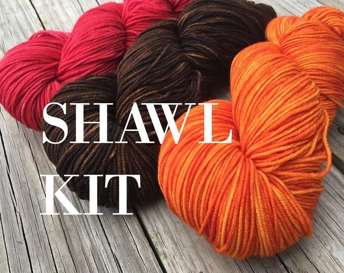 Knitted Shawl KIT - Riptide Rebel Shawl - 3 skeins DK Treasures Yarn, Pattern, stitch markers - Red Orange Brown