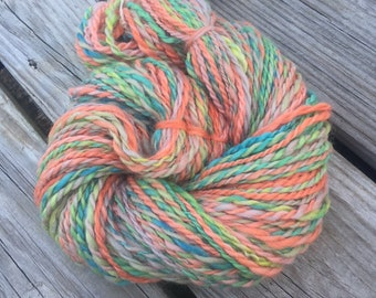 Citrus Joys Handspun Yarn Bulky 2 ply wool yarn FiberTerian 95 yards lime green tangerine orange teal turquoise cotton pink ready to ship