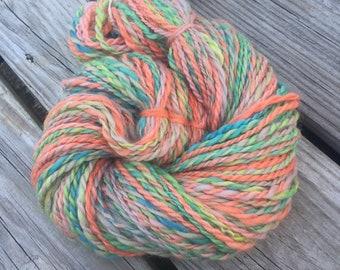 Citrus Joys Handspun Yarn Bulky 2 ply wool yarn FiberTerian 95 yards lime green tangerine orange teal turquoise cotton candy pink