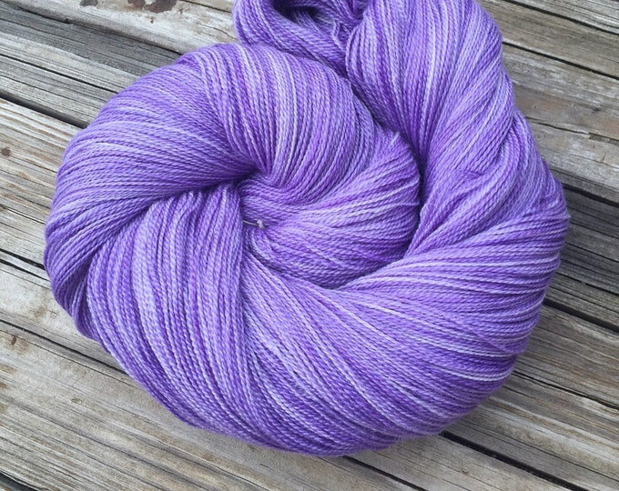 hand dyed lace weight yarn purple Silk Treasures Avast ye Wildcats violet merino silk yarn semisolid lilac 875 yards tonal ready to ship