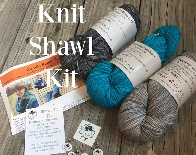 Knitting KIT Riptide Rebel Shawl Frolicking Mermaid Set DK Yarn Pattern PDF Stitch Markers superwash merino turquoise silver charcoal gray