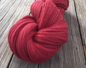 hand dyed lace weight yarn silk yarn Captain Blood red rose brick red yarn merino silk 875 yards hand dyed yarn ready to ship