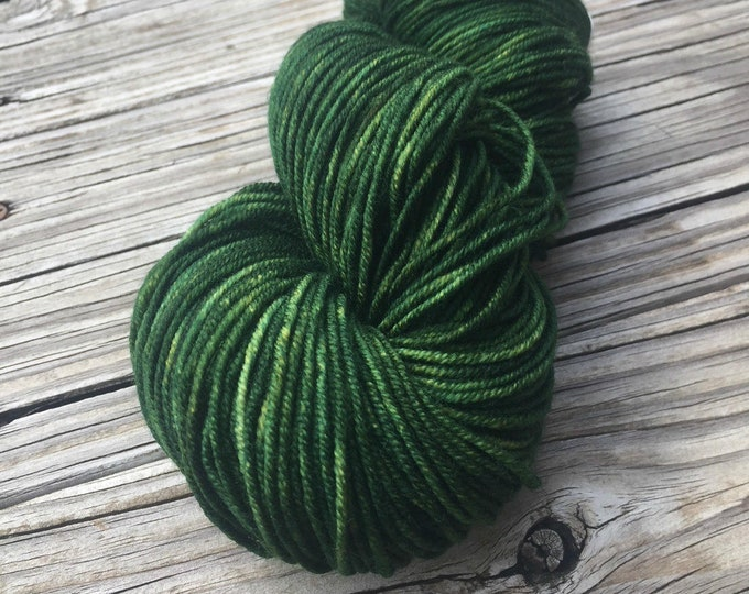 Land Ho! Green Hand Dyed DK Weight Yarn Forest Green Hand Painted yarn 274 yards Superwash Merino Wool treasure goddess swm Sport Weight