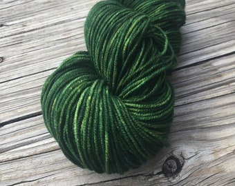 Land Ho! Green Hand Dyed Worsted Weight Yarn Forest Green Hand Painted yarn 218 yards Superwash Merino Wool treasure goddess swm