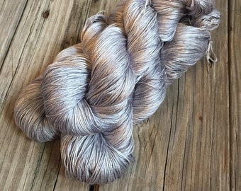 Hand Dyed Silk Yarn, silver gray, fingering weight yarn, Pieces of Eight, mulberry silk