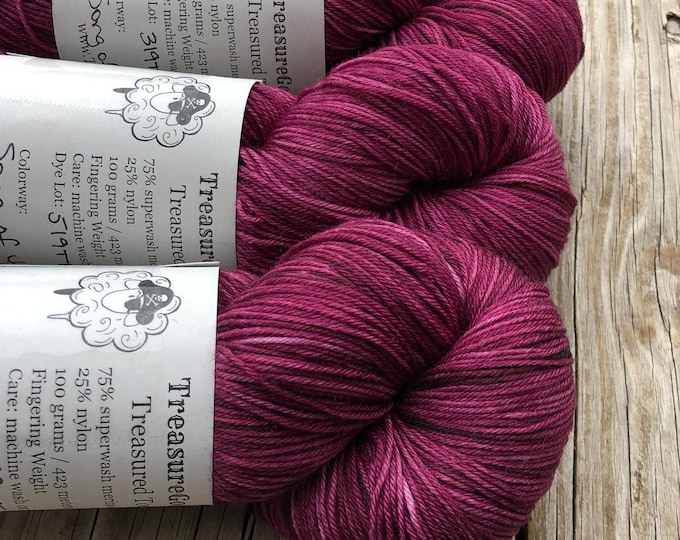 Featured listing image: Cranberry Magenta Yarn   Song of the Sirens   Treasured Toes Sock Yarn   75/25 swm/nylon
