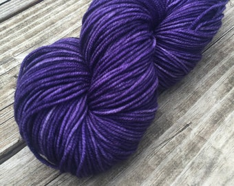 The King's Cloak Hand Dyed Yarn Dark Purple Worsted Weight Yarn Hand Painted yarn 218 yards Superwash Merino Wool Royal Purple Amethyst swm