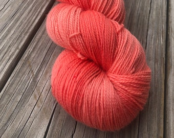 orange pink cashmere sock yarn, Hand Dyed Sock Yarn, Coral Reef, Cashmere Super Toes, 600 yard skeins