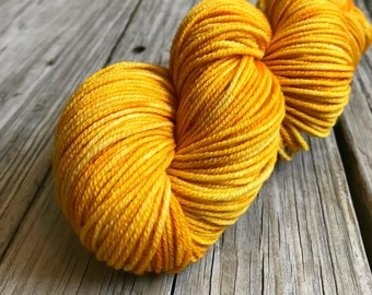 goldenrod yellow Hand Dyed Worsted Weight Yarn, Poseidon's Trident, Treasured Warmth