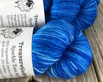 Hand Dyed Sparkle Sock Yarn, Sapphire Blue, Swimmin' with the Fishes, Sparkle Toes