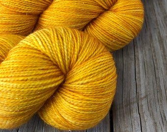 Hand Dyed Sparkle Toes Sock Yarn, Goldenrod Yellow, Poseidon's Trident, Sparkle Toes