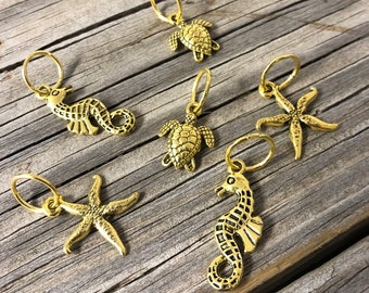 Gold Ocean Creatures Knitting Stitch Markers set of 6 with temporary tattoo Limited Edition, sea turtles, starfish, seahorses