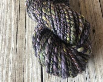Handspun Bulky Yarn | Gold Sparkle | merino tencel angelina | olive green purple rust | 2 ply
