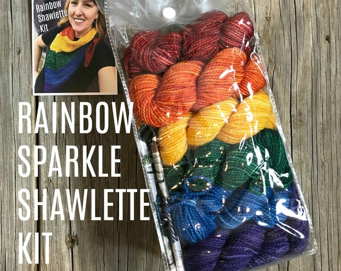 Sparkle Rainbow Shawl Kit sparkle toes sock yarn mini skein gradient set with knitting pattern pdf 492 yards red orange yellow green blue