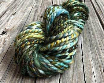 Handspun Bulky Yarn | Lagoon | mint green spring green gold | 2 ply