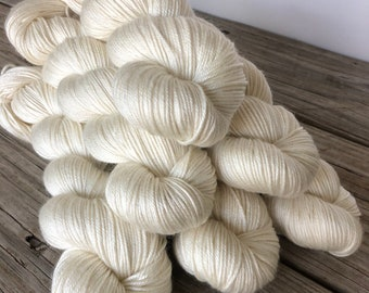 natural cream Hand Dyed DK Yarn, silk merino yarn, White Sand Beaches, Silken Purls