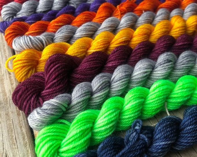 Featured listing image: Cabin Cowl Kit, Sock Yarn Mini Skein Set, Crochet Pattern and Knitting Pattern