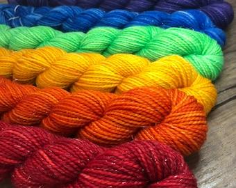 Sparkle Rainbow Shawl Kit | Sparkle Toes Sock Yarn | mini skein set | Rainbow | Knitting Kit