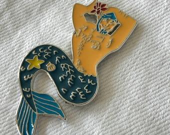 Merman enamel pin, mermaid, gift for knitters crocheters