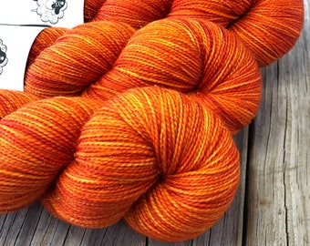 Hand Dyed Sparkle Sock Yarn, orange, Lusty Wench, Sparkle Toes