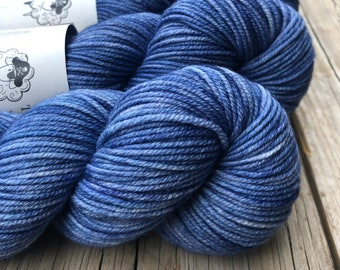 denim blue Hand Dyed Worsted Weight Yarn, Sharks in the Shallows, Treasured Warmth