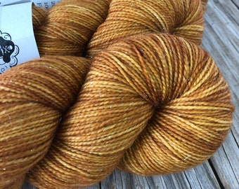 Hand Dyed Sparkle Sock Yarn, tan brown, Why is the Rum Gone, Sparkle Toes