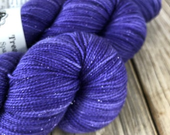 Hand Dyed Sparkle Sock Yarn, Royal Purple, King's Cloak, Sparkle Toes