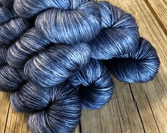 denim blue Hand Dyed DK Yarn, silk merino yarn, Sharks in the Shallows, Silken Purls