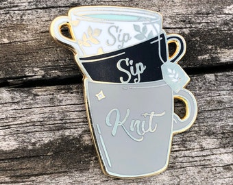 sip sip knit enamel pin, tea cups pin, gift for knitters crocheters pirates