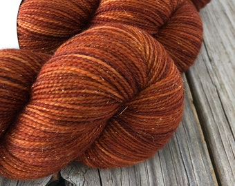Hand Dyed Sparkle Sock Yarn, Copper Cove, Sparkle Toes