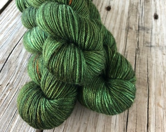 forest green Hand Dyed DK Yarn, silk merino yarn, Land Ho, Silken Purls