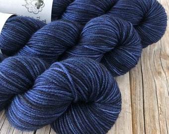 navy blue Hand Dyed Worsted Weight Yarn, Fathoms Deep, Treasured Warmth