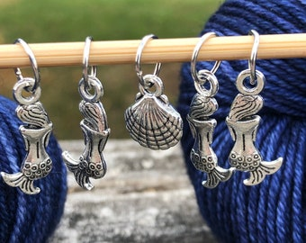 Mermaid Knitting Stitch Markers set of 5 Limited Edition, silver mermaids with sea shells