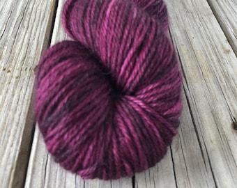 Hand Dyed Luxury DK Yarn, magenta wine, Song of the Sirens, Treasured DK Luxe, baby alpaca cashmere silk