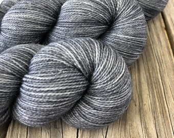 Hand Dyed Sparkle Sock Yarn, charcoal gray, Ghost Ship, Sparkle Toes