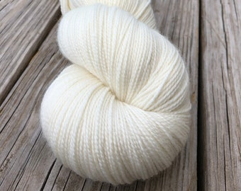 natural cream cashmere yarn, Hand Dyed Sock Yarn, White Sand Beaches, Cashmere Super Toes, 600 yard skeins, fingering weight