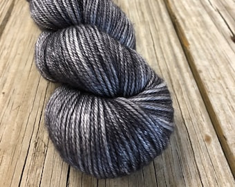charcoal gray Hand Dyed DK Yarn, silk merino yarn, Ghost Ship, Silken Purls