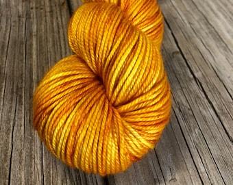 goldenrod yellow Hand Dyed DK Yarn, silk merino yarn, Poseidon's Trident, Silken Purls